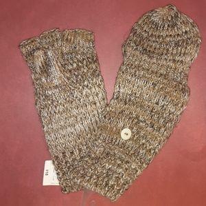 Fingerless Gloves with Mitten Overlay